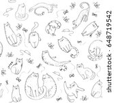 Stock vector seamless pattern with cats in sketch style hand drawn cats 648719542