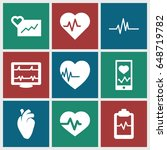 heartbeat icons set. set of 9... | Shutterstock .eps vector #648719782