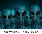 Alien Character And Ufo Visito...