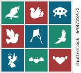 flying icons set. set of 9... | Shutterstock .eps vector #648723472