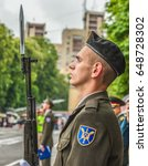 Small photo of KYIV, UKRAINE - May 26, 2017: Ceremony on the occasion of the end of the academic year in the Kiev military lyceum of Ivan Bohun. Guard of honor.