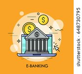 classical bank building against ... | Shutterstock .eps vector #648730795