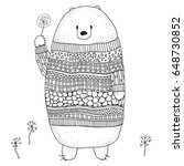 cute bear in a sweater with a... | Shutterstock .eps vector #648730852