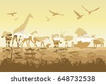 double exposure  wild animals   Shutterstock .eps vector #648732538