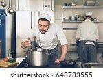 man japanese restaurant chef... | Shutterstock . vector #648733555