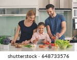 family cooking meal food...   Shutterstock . vector #648733576