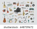 hand drawn doodle musical...   Shutterstock .eps vector #648739672