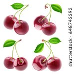 isolated cherries. collection... | Shutterstock . vector #648743392