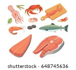 vector seafood illustrations... | Shutterstock .eps vector #648745636