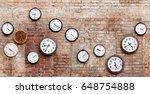 Vintage Clocks On Old Brick...