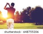 back view of male golfer... | Shutterstock . vector #648755206