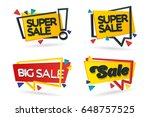 set of colored stickers and...   Shutterstock .eps vector #648757525