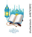 the holy book of the quran on... | Shutterstock .eps vector #648765892