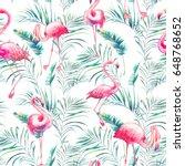 watercolor flamingo and... | Shutterstock . vector #648768652
