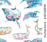 whale with flowers seamless... | Shutterstock . vector #648768898