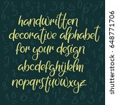 decorative handwritten font.... | Shutterstock .eps vector #648771706