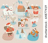 north pole christmas card | Shutterstock .eps vector #64877419