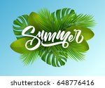 summer poster with tropical... | Shutterstock .eps vector #648776416