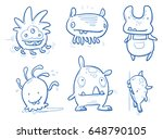set of funny cute monsters ... | Shutterstock .eps vector #648790105