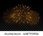 beautiful golden fireworks.... | Shutterstock .eps vector #648793906