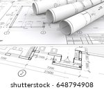 architectural blueprints.... | Shutterstock . vector #648794908