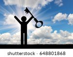 flat icon man holds the key at...   Shutterstock . vector #648801868