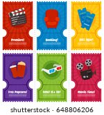cinema mini tickets set | Shutterstock .eps vector #648806206