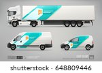 set of semi truck  cargo van ... | Shutterstock .eps vector #648809446