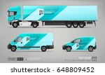 mock up set of cargo truck ... | Shutterstock .eps vector #648809452