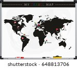 travel map with flags map... | Shutterstock .eps vector #648813706