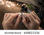 man prohibit not to smoke ... | Shutterstock . vector #648821536