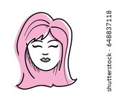cute woman face with hairstyle   Shutterstock .eps vector #648837118