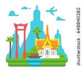 flat design bangkok landmarks... | Shutterstock .eps vector #648840382
