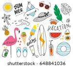 set of summer doodle on white... | Shutterstock .eps vector #648841036