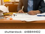 civil design engineer is making ... | Shutterstock . vector #648844402