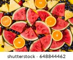 beautiful pattern with fresh... | Shutterstock . vector #648844462