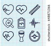 set of 9 beat outline icons... | Shutterstock .eps vector #648871366