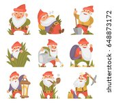 fairy tale fantastic gnome... | Shutterstock .eps vector #648873172