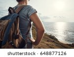 hipster woman traveler with... | Shutterstock . vector #648877126