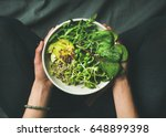 green vegan breakfast meal in... | Shutterstock . vector #648899398