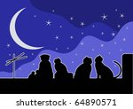 cats on the roof. starry night | Shutterstock .eps vector #64890571
