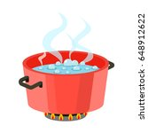 boiling water in pan red... | Shutterstock .eps vector #648912622