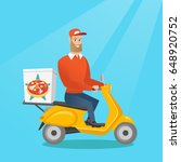 caucasian man delivering pizza... | Shutterstock .eps vector #648920752
