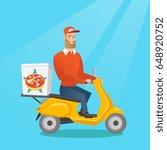 caucasian man delivering pizza... | Shutterstock .eps vector #648920752
