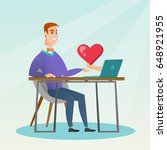 caucasian man looking for... | Shutterstock .eps vector #648921955