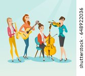 band of musicians playing... | Shutterstock .eps vector #648922036