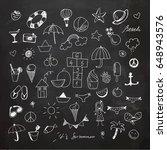 summertime doodle set. chalk... | Shutterstock .eps vector #648943576