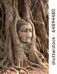 Head of Sandstone Buddha at Ayutthaya , Thailand - stock photo