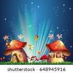 Fairies Flying Over Mushroom...
