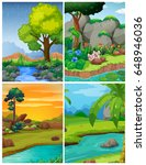 four forest scenes with rivers... | Shutterstock .eps vector #648946036